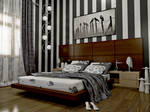 bedroom with stripes