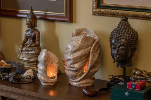 Set Of Ceramic Art Urns for Ashes - Light