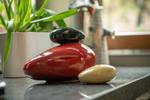 Set Of Ceramic Art Urns for Ashes - Stone