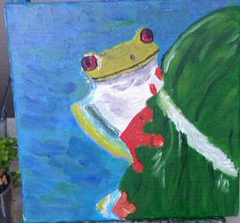Frog on leaf by butterfly87