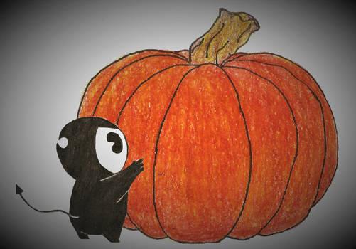 BATIM: smol bendy curious about a pumpkin