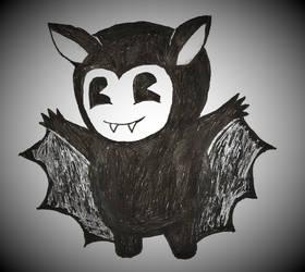 Smol Bendy dressed as a vampire bat for Halloween