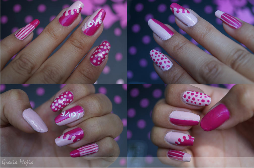 valentines  nails by yuki365