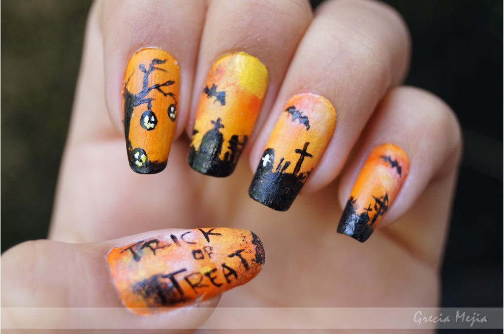 halloween nails:graveyard by yuki365