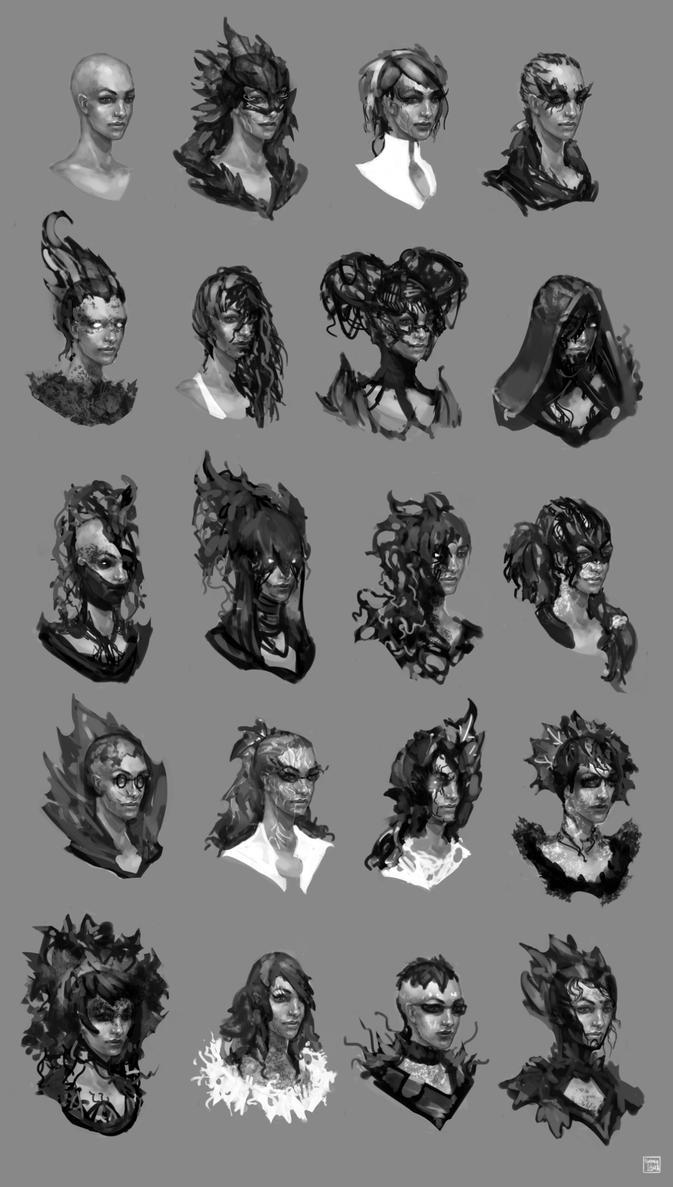 Poison Ivy head studies by SpaceLaika