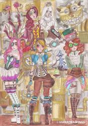 Alice in Wonderland Steampunk by VianaDrawings