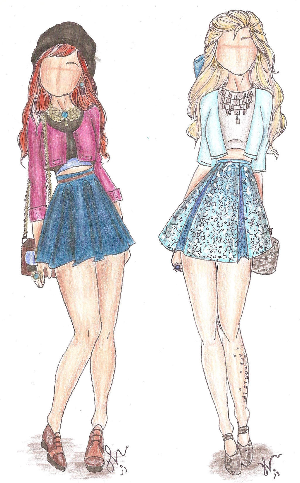 Disney Princess Fashion Anna And Elsa By Vianadrawings