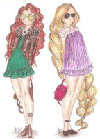 Disney Princess Fashion | Merida and Rapunzel by VianaDrawings