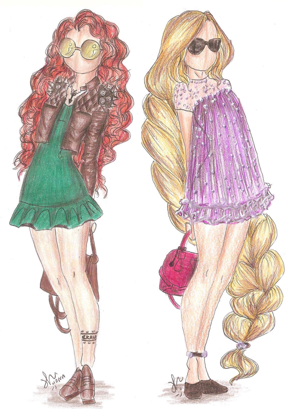 Disney Princess Fashion Merida And Rapunzel By VianaDrawings On