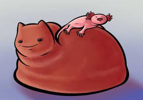 Axolotl and Loaf Cat