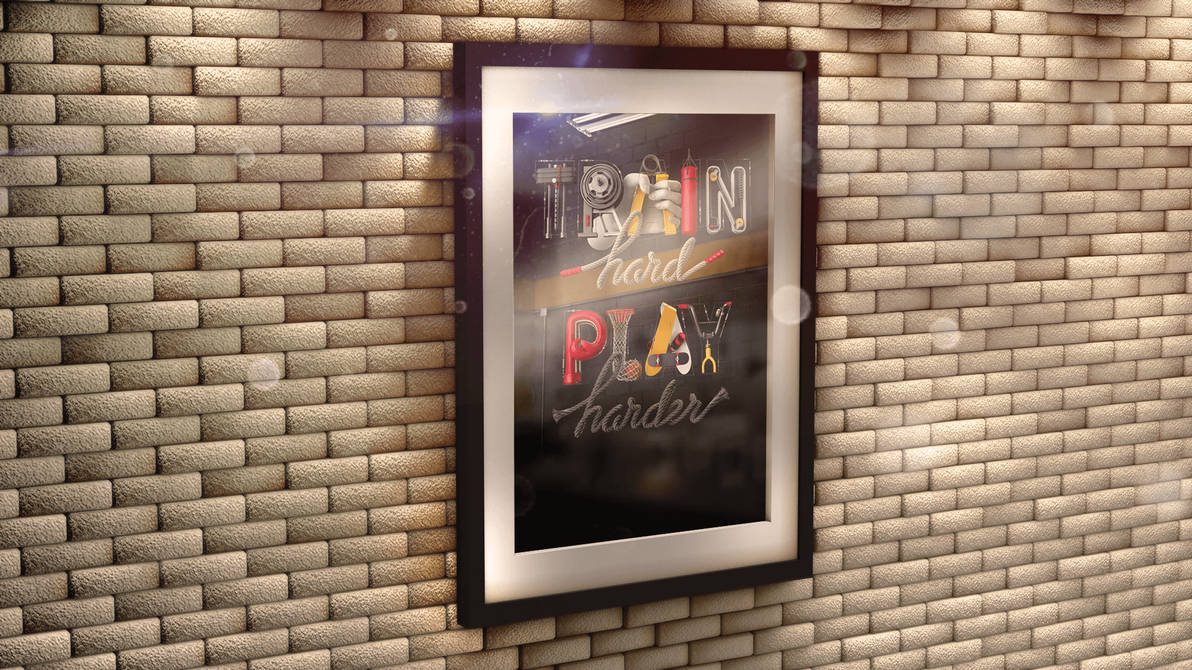 Poster In 3d Frame On Brick Wall Mock Up By Thislooksgreat On Deviantart