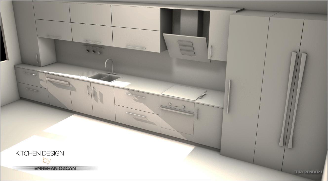 Kitchen design clay render 1 by vasilidean on deviantart for Kitchen designs by clay