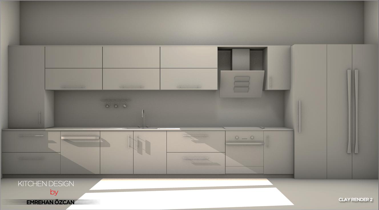 ... Kitchen Design Clay Render 2 By VasiLiDeaN