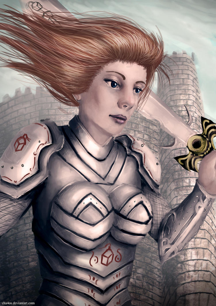 Medieval Knight women Potrait by cha4os