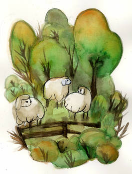 Sheeps In Forest