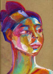 Colorful girl portrait in oil pastels