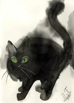 Watercolor Black Cat