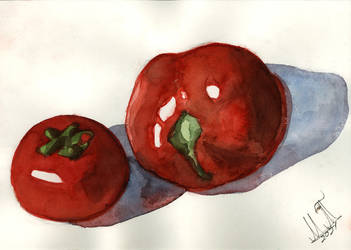 Watercolor Reflection Of Tomatoes