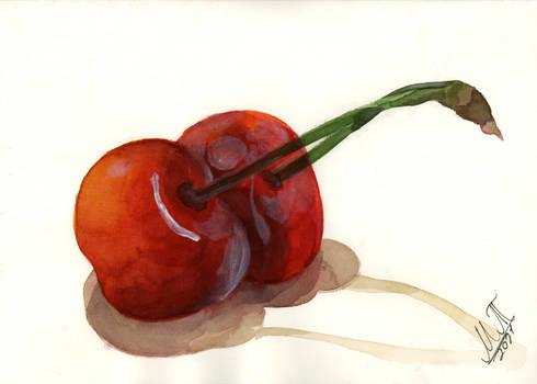 Watercolor Painting Cherries