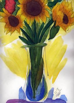 Watercolor Sunflowers Vase