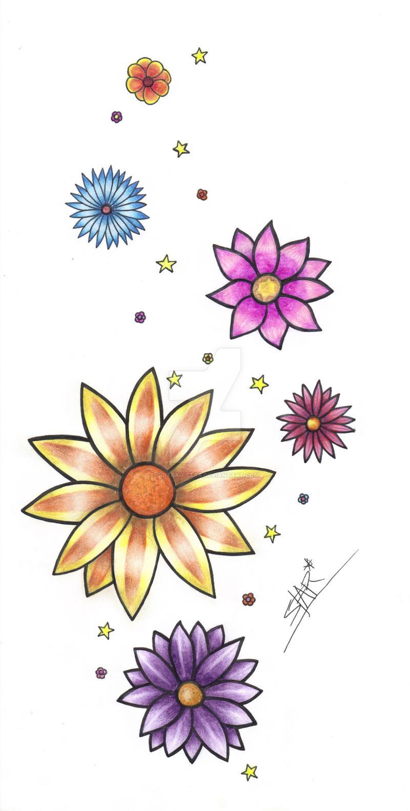 flower tattoo design by dirtbag star on deviantart. Black Bedroom Furniture Sets. Home Design Ideas