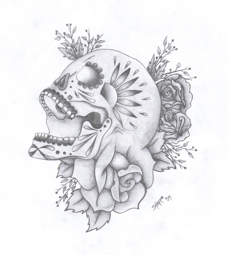 Skull Tattoo Design by Dirtbag-Star