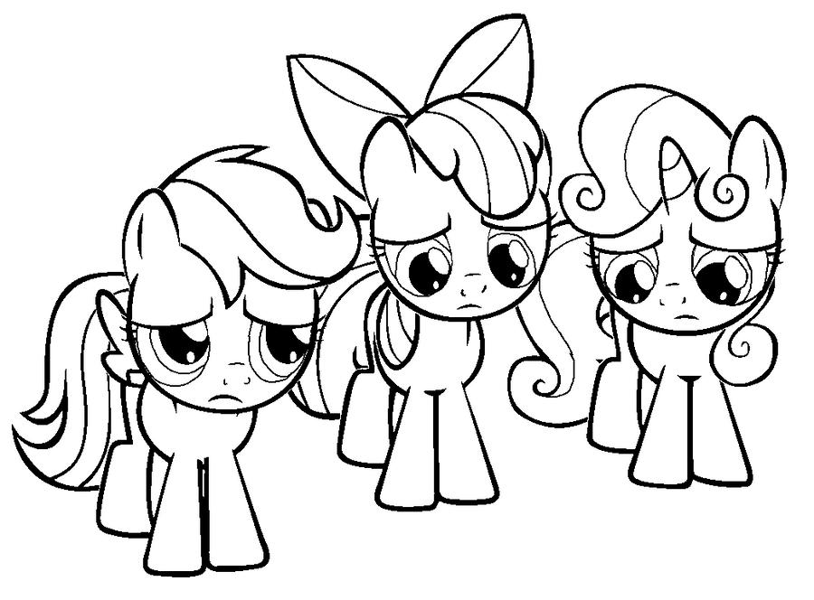 My Little Pony Coloring Pages Cutie Mark : Sad cutie mark crusaders colouring page by