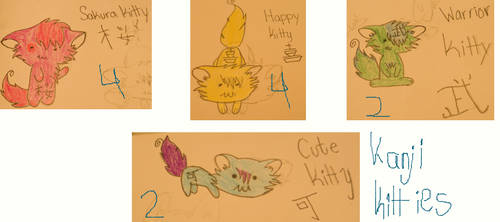Kanji Kitties by iluvtosinglalala