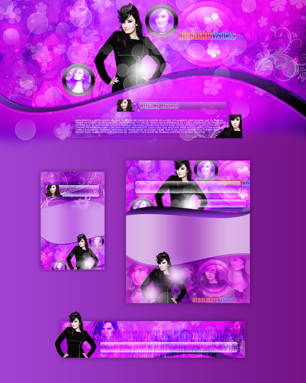 Demi Lovato Layout (NeonLightsVisuals) by NeonLightsVisuals