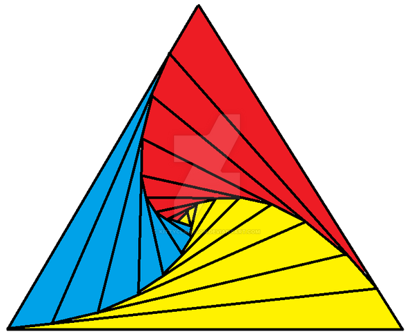 Drawing Using Only Straight Lines : Awesome triangle using only straight lines by