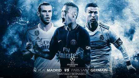 Real Madrid Vs Paris Saint Germain Match Card by MohamedALAAGFX