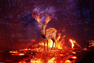 Fire Deer by MohamedALAAGFX