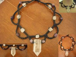 Quartz and Amethyst Necklace by ReezaJoy