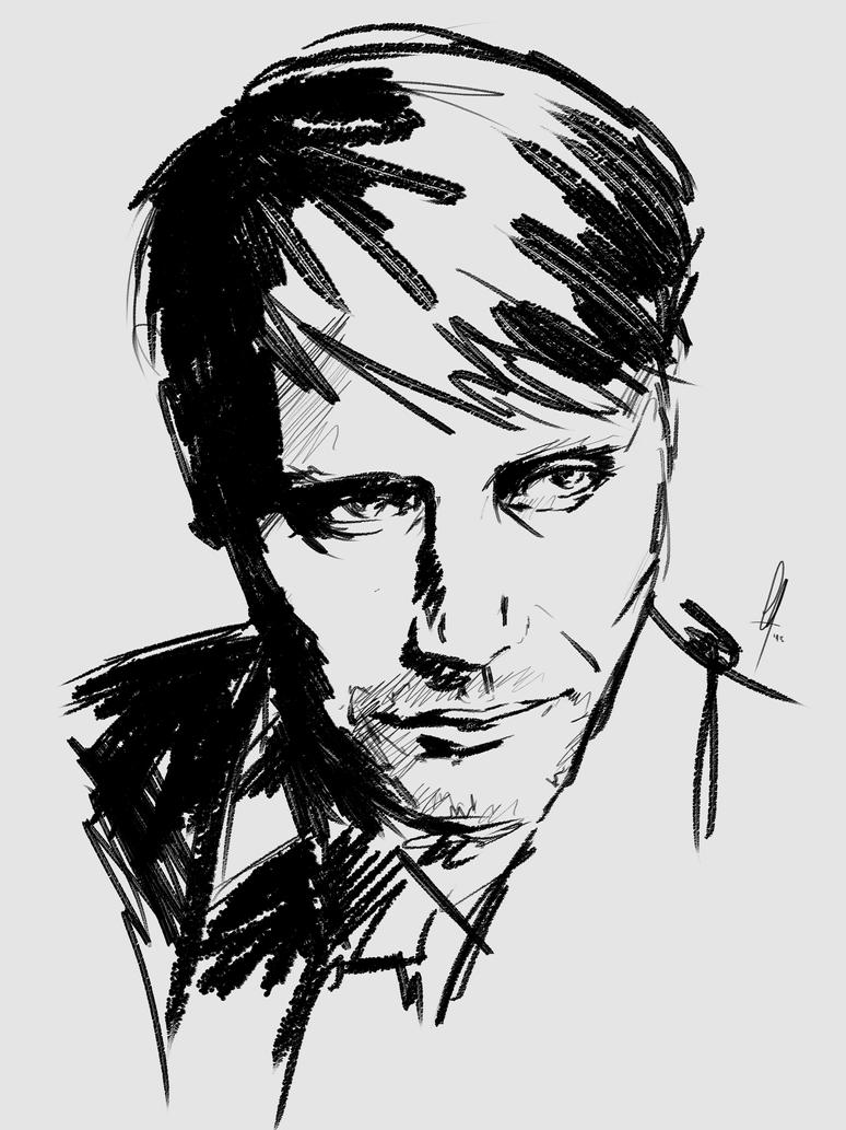 Mads Mikkelsen Sketch by charlotvanh