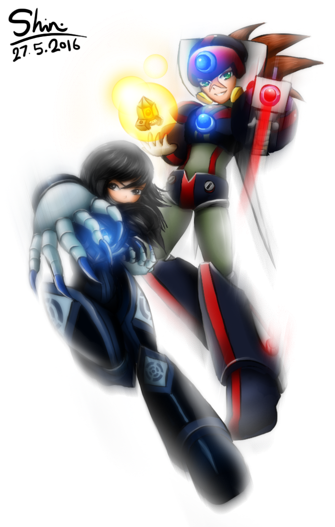 Axl and Solid MMXP official art - original style by Shinryuu-Uroborus