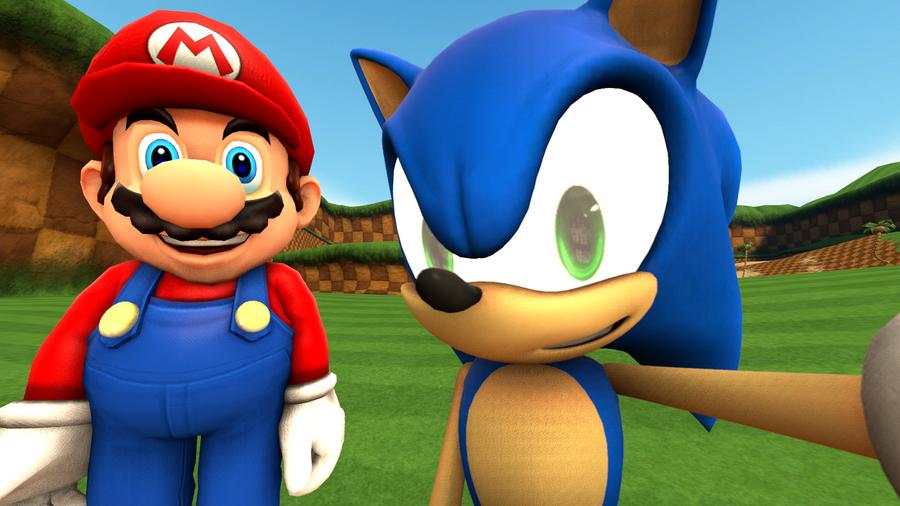 Sonic's Celfie With Mario by MarioMario9090