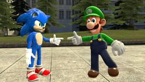 Movie sonic meets Luigi