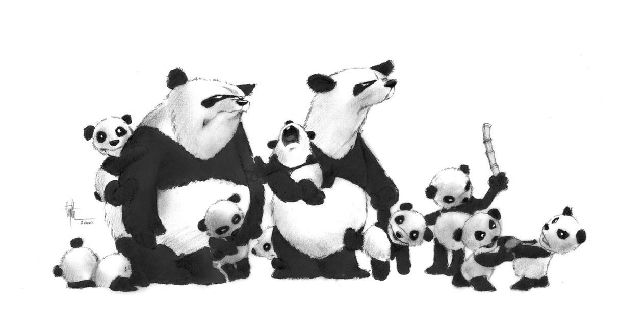 Panda Family by Eyth