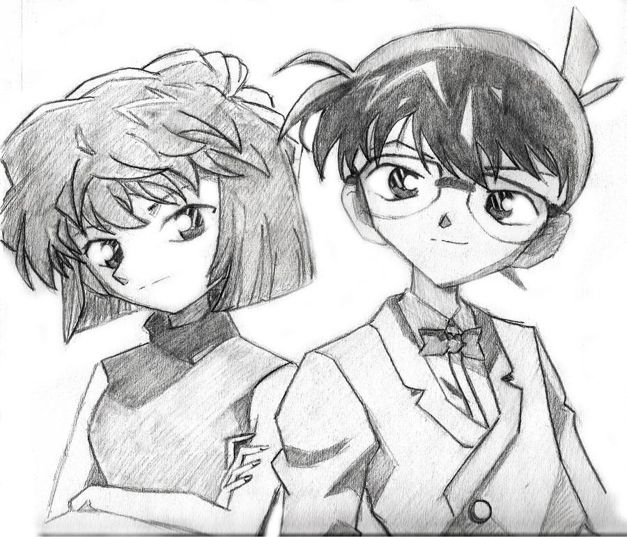 detective conan conan and ai by saiyuritachikowa