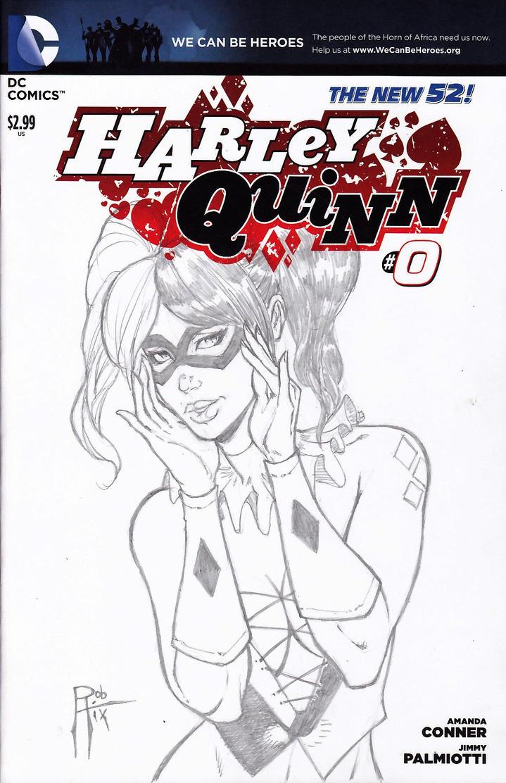 HarleyQuinn sketch cover by rob-hix