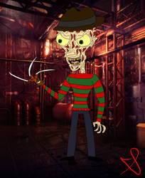 Freddy Krueger Cartoon Portrait by ChenTheIrken