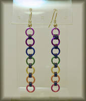 Rainbow Chainmaile Earrings by MajorTommy