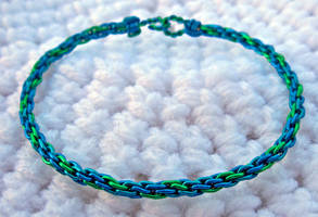Blue n Green Kumihimo Bracelet by MajorTommy