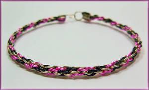 Pink n Black Kumihimo Bracelet by MajorTommy