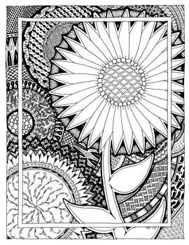 Zen Flower Line Art