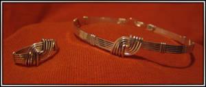Knot Ring-Bracelet Set Silver by MajorTommy