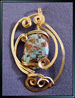 Turquoise Gold Wrapped Pendant by MajorTommy