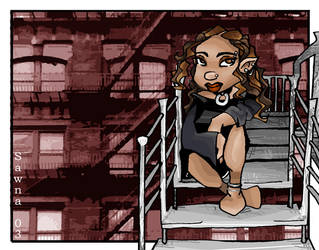 Reece at fire escape by sannchen