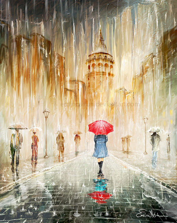 Walking in the rain by erdincaltun