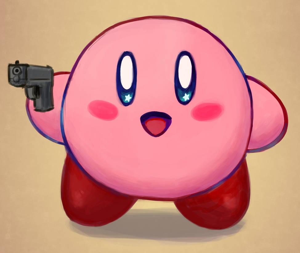 kirby has a gun